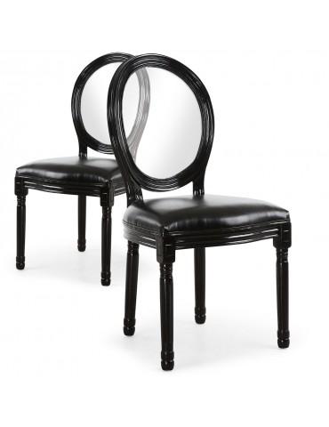 Lot de 2 chaises Louis XVI Glass Noir 24501acrblack