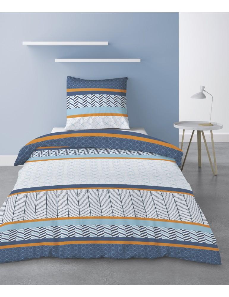 Parure de lit 1 personne Gospy avec housse de couette et taie d'oreiller Imprimé 140 x 200 3141000502Les Ateliers du Linge