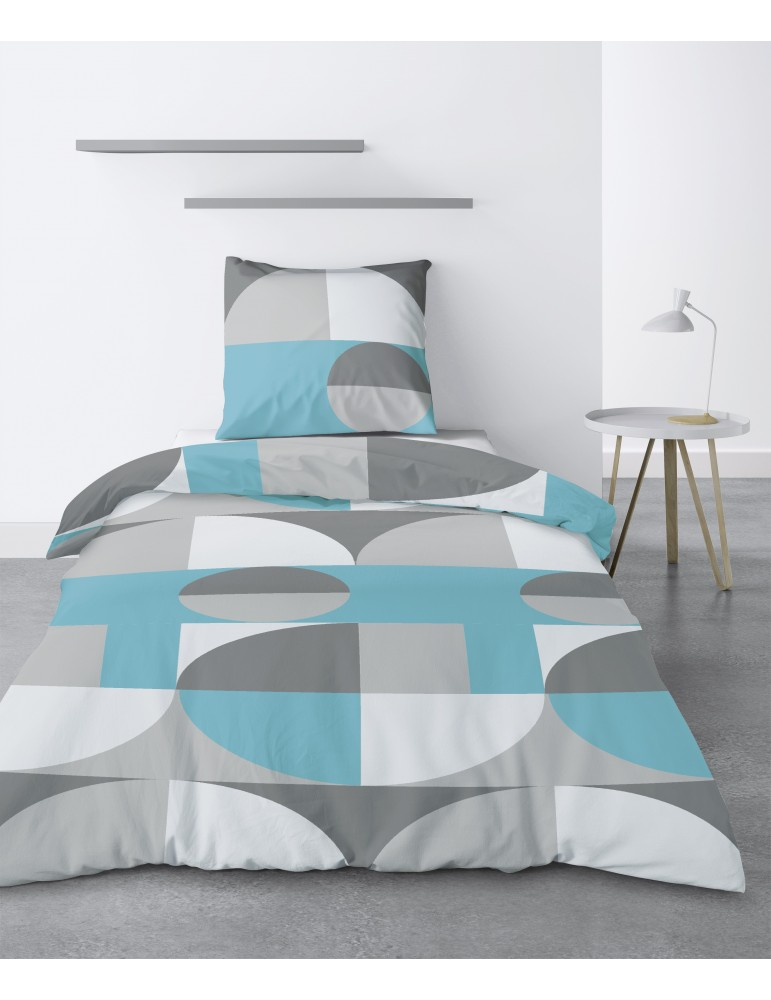 Parure de lit 1 personne Knavy avec housse de couette et taie d'oreiller Imprimé 140 x 200 3147000502Les Ateliers du Linge