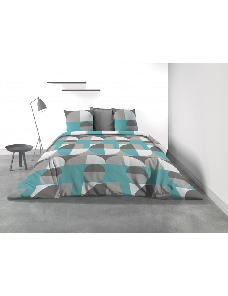 Parure de lit 2 personnes Knavy avec housse de couette et taies d'oreiller Imprimé 220 x 240 3161000503Les Ateliers du Linge