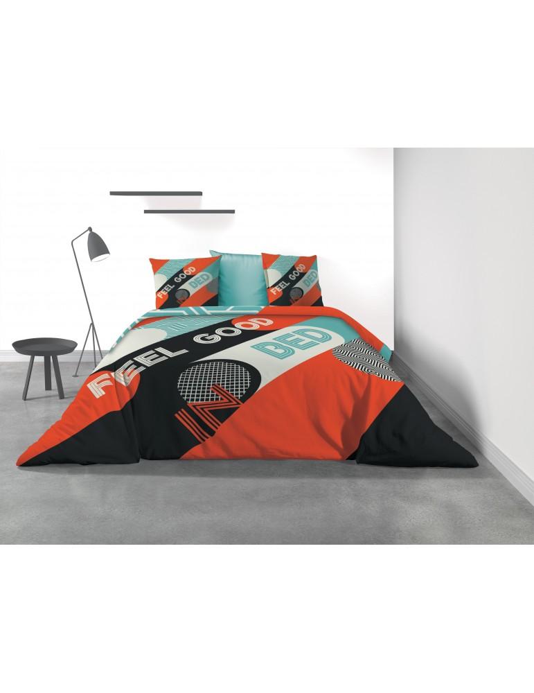 Parure de lit 2 personnes Feel Good avec housse de couette et taies d'oreiller Imprimé 240 x 220 3174000503Les Ateliers du Linge