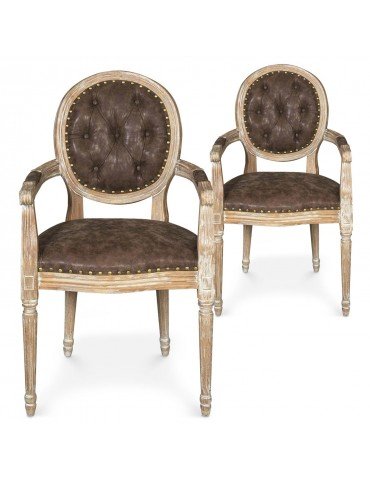 Lot de 2 chaises médaillon Louis XVI Dynasty Tissu Marron clouté 17st006brownnails