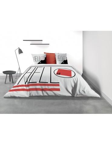 Parure de lit 2 personnes Hello avec housse de couette et taies d'oreiller Imprimé 260 x 240 3189000503Les Ateliers du Linge