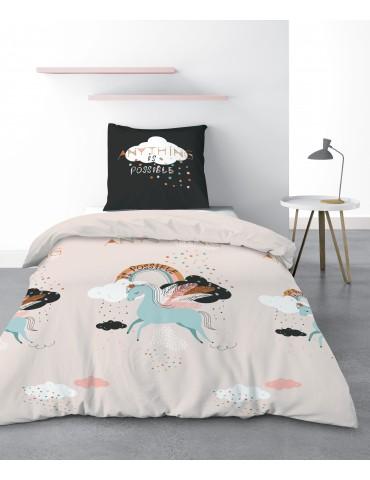 Parure de lit 1 personne Bella avec housse de couette et taie d'oreiller Imprimé 140 x 200 3421000502Les Ateliers du Linge
