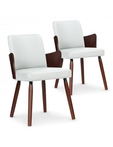 Lot de 2 chaises scandinaves Phibie bois noisette et Blanc 2xgf347anoisblanc