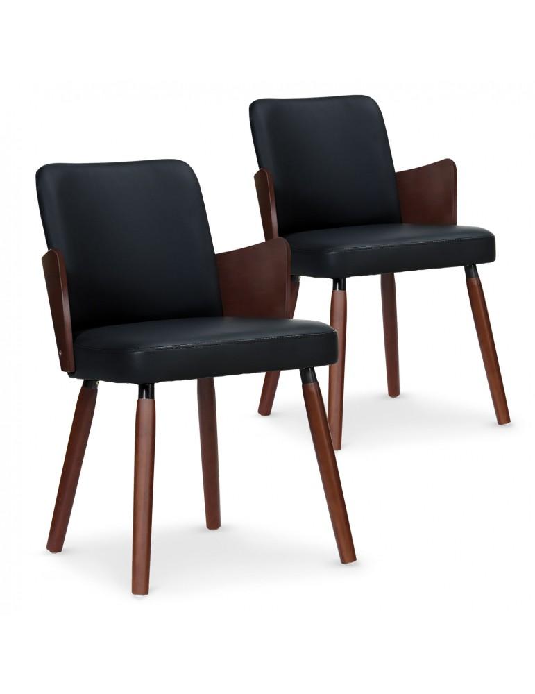Lot de 2 chaises scandinaves Phibie bois noisette et Noir 2xgf347anoisnoir