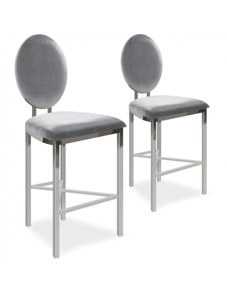 Lot de 2 chaises de bar médaillon Sofia Velours Argent bar2204silvervelvet