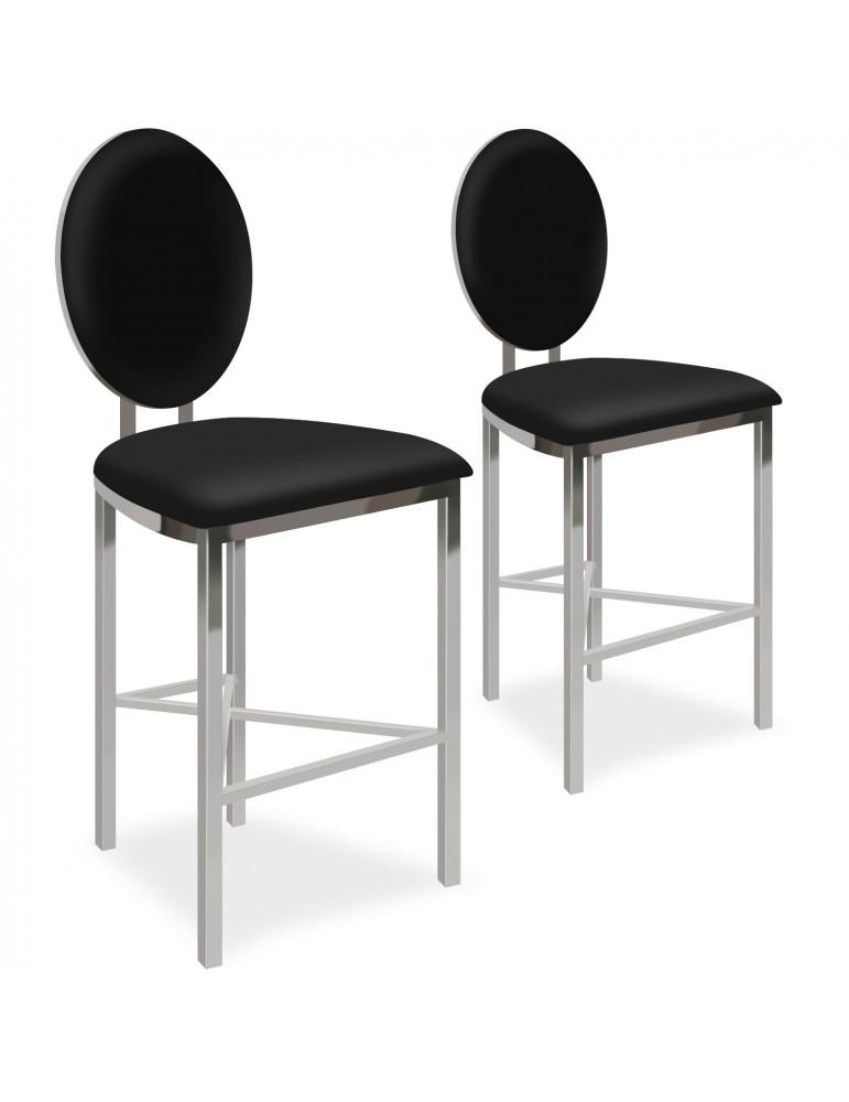 Lot de 2 chaises de bar médaillon Sofia Simili Noir bar2204blackpu