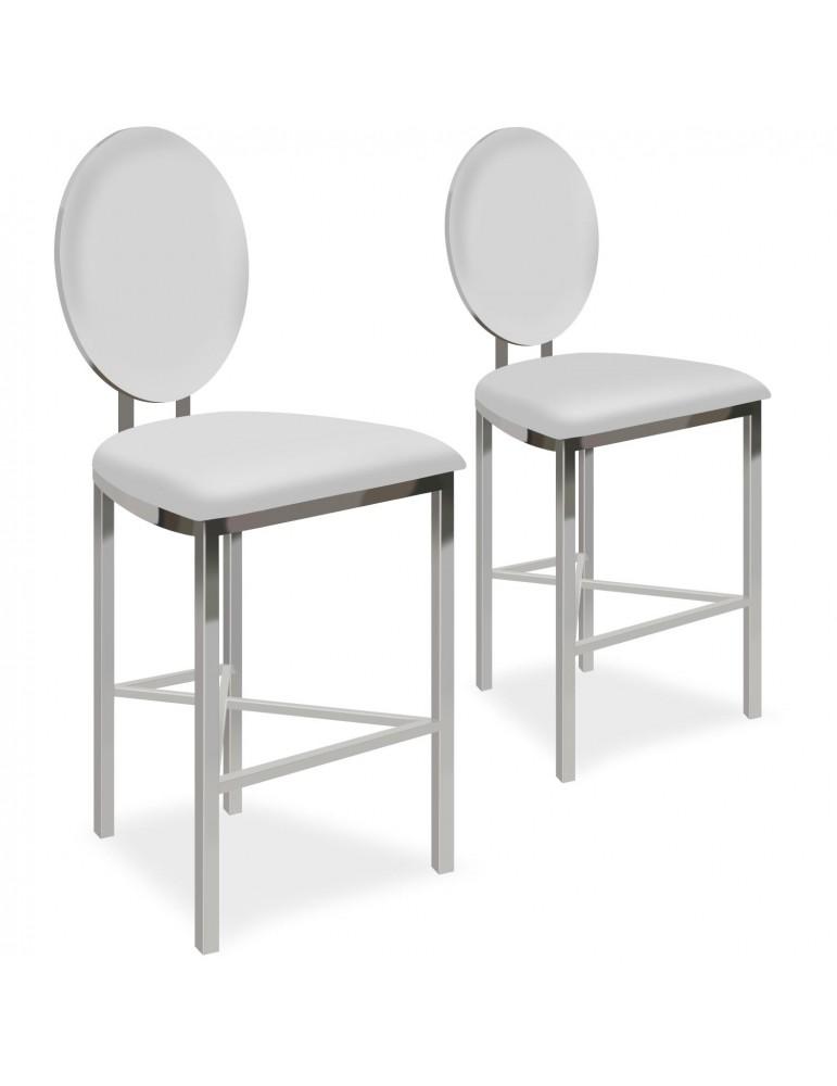 Lot de 2 chaises de bar médaillon Sofia Simili Blanc bar2204whitepu