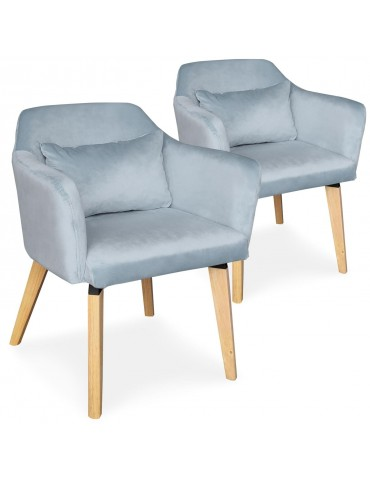 Lot de 2 chaises / fauteuils scandinaves Shaggy Velours Bleu ciel lsr19117lot2skyvelvet