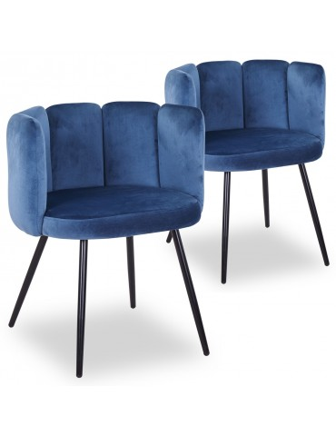 Lot de 2 chaises Amela Velours Bleu c1142bluevelvethlr63