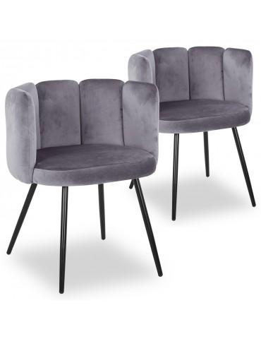 Lot de 2 chaises Amela Velours Gris c1142greyvelvethlr20