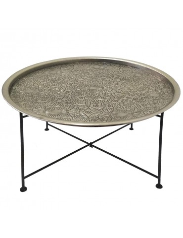 Table basse ronde Mouva Nickel et Noir 37450nickelblack