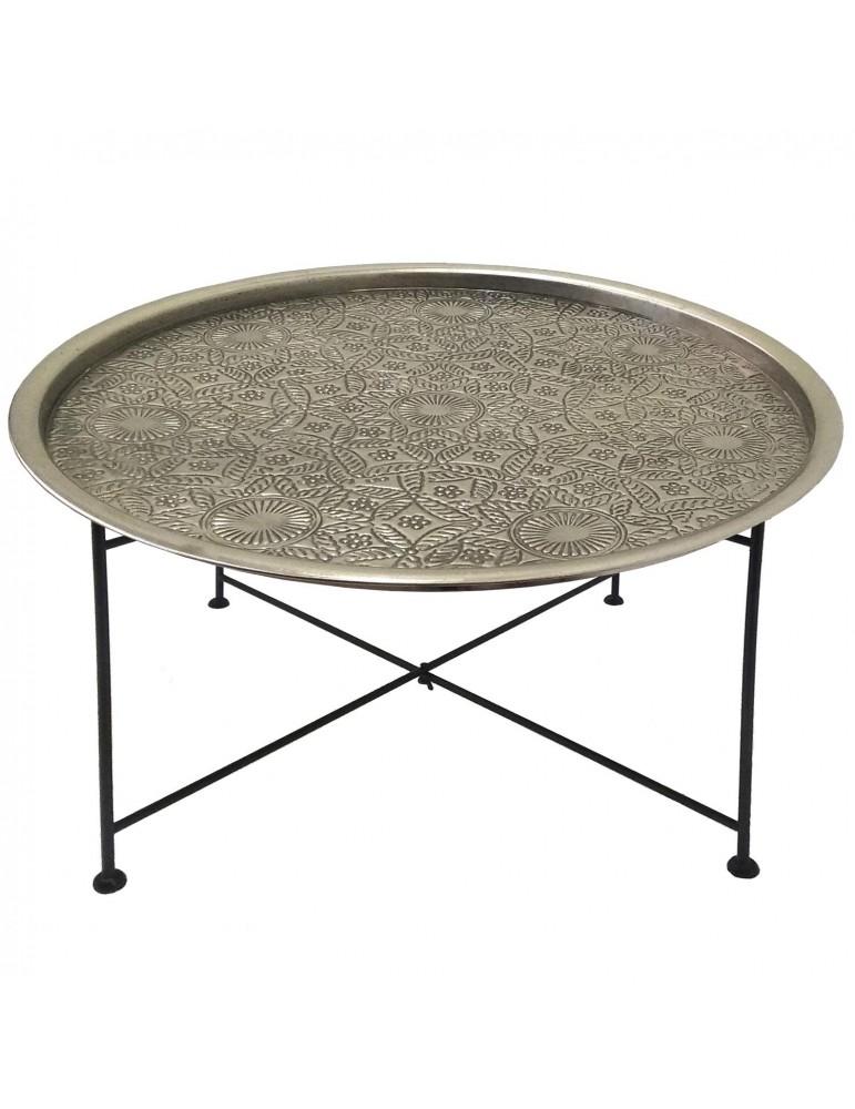 Table basse ronde Mouva Nickel et Noir 37450nickelblack