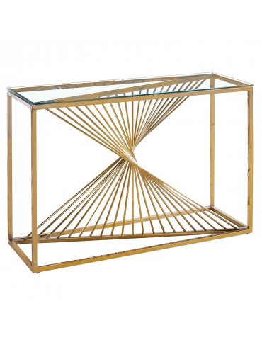 Console Britannia en Verre Transparent et Pieds Or bs1561golden