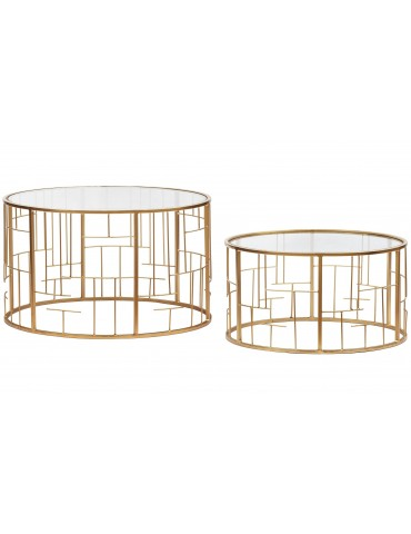 Lot de 2 Tables basses Cantal Transparent et pieds Or 37930gold