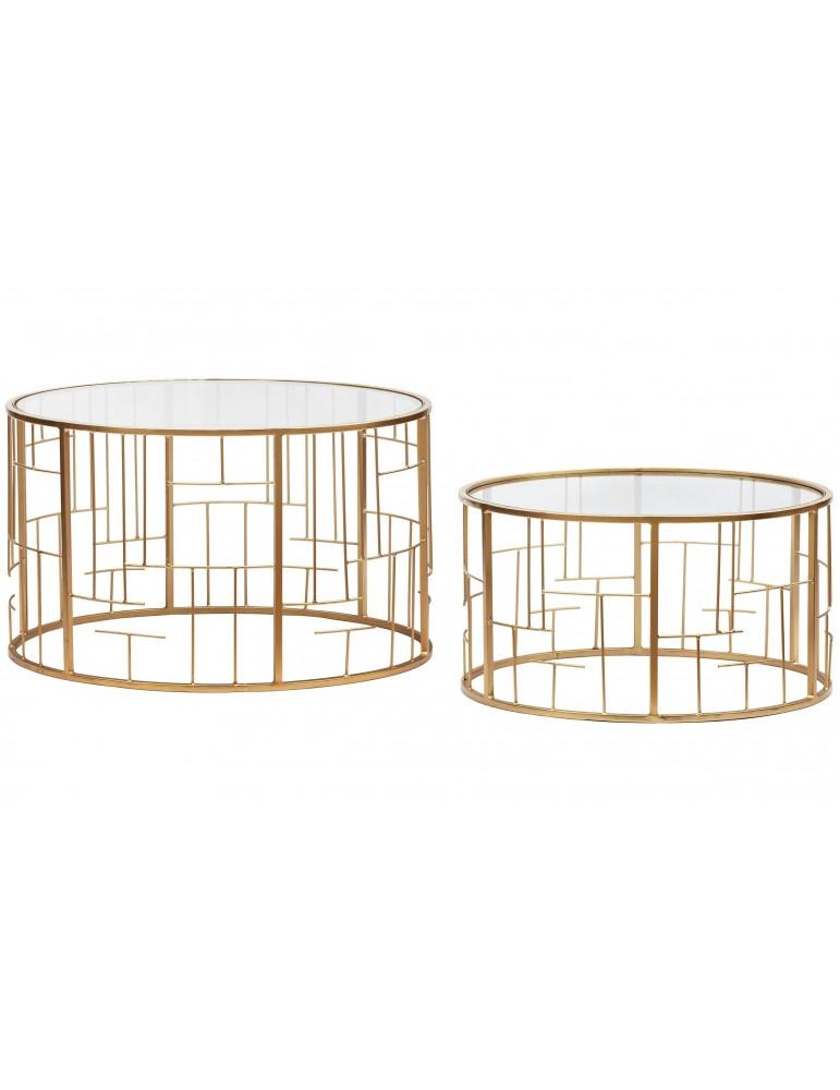 Lot de 2 Tables basses Cantal Transparent et pieds Or 37930gold