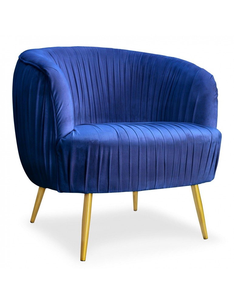 Fauteuil Dobras Velours Bleu pieds Métal Or lsr19276bluevelvet