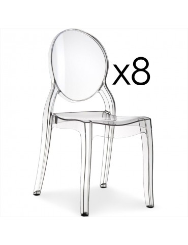 Lot de 8 chaises médaillon Diva Plexi Transparent zs9007lot8transparent