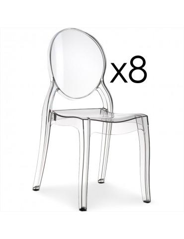 Lot de 8 chaises médaillon Diva Plexi Transparent zs9007lot8transparent