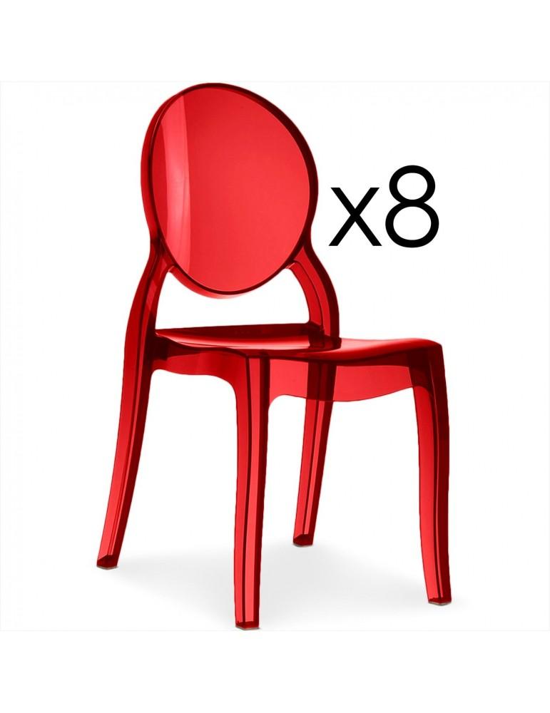 Lot de 8 chaises médaillon Diva Plexi Transparent Rouge zs9007lot8transparentred