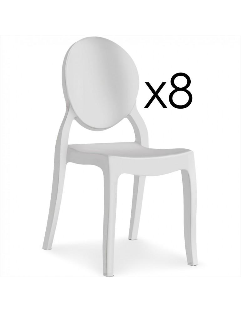 Lot de 8 chaises médaillon Diva Plexi Blanc zs9007llot8white