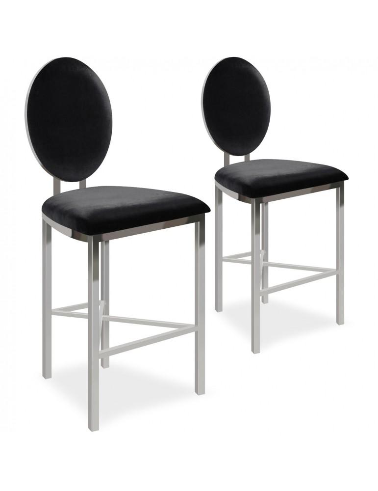 Lot de 2 chaises de bar médaillon Sofia Velours Noir bar2204blackvelvet