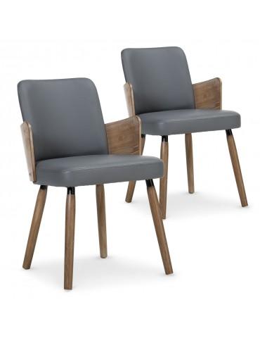 Lot de 2 chaises scandinaves Phibie Vintage Gris 2xgf347avintgrey