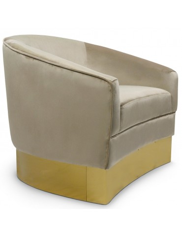 Fauteuil Curva Velours Taupe Pieds Or lsr190471puttyvelvet