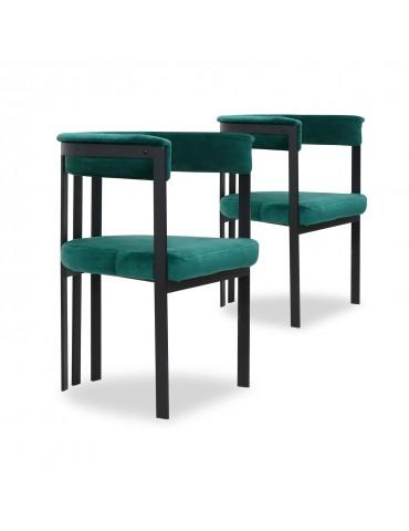 Lot de 2 Chaises / Fauteuils Solferino Velours Vert pieds Noir ji314velvetgreen