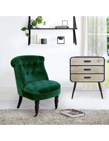 Fauteuil crapaud Prince Velours Vert qh8810green56