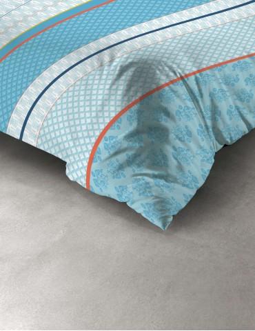 Parure de lit 2 personnes Eva Blue avec housse de couette et taies d'oreiller Imprimé 240 x 220 7982000503Les Ateliers du Linge