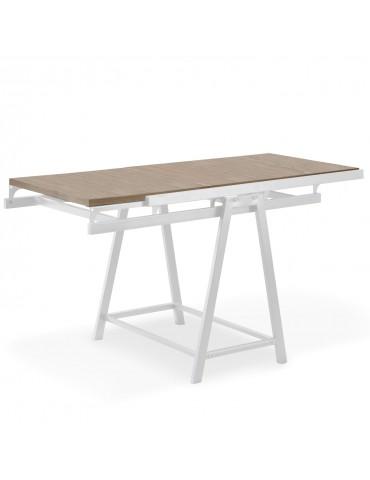 Table / Bibliothèque transformable gain de place Clever Chêne clair gateoak