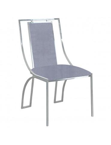 Lot de 2 chaises Catarina Velours Argent pieds Argent 1115silvervelvetsilver