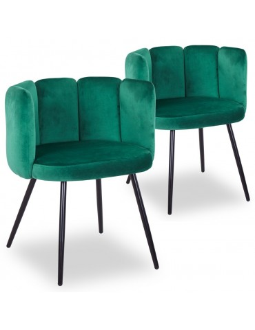 Lot de 2 chaises Amela Velours Vert c1142greenvelvetjb60726