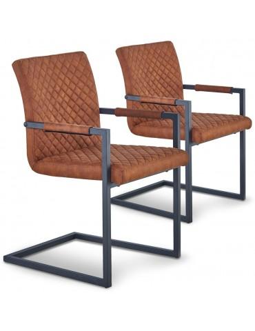 Lot de 2 chaises matelassées kansas Tissu Marron Vieilli dc7013browncowboyfabric