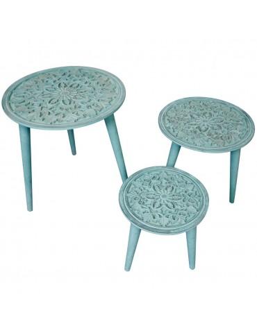 Ensemble de 3 tables gigogne Kairouan Bleu-Vert g21502bluevert