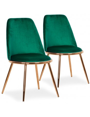 Lot de 2 Chaises Wallis Velours Vert tr1802velvetgreen