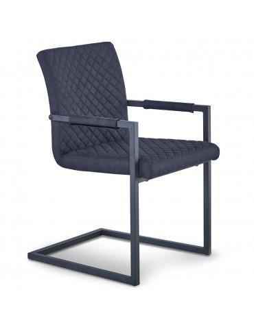Lot de 2 chaises matelassées kansas Tissu Noir Vieilli dc7013blackcowboyfabric