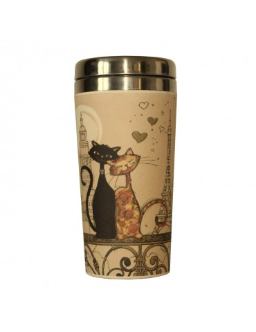 Mug isotherme en bamboo couple chat paris MUGBAM01A03Kiub