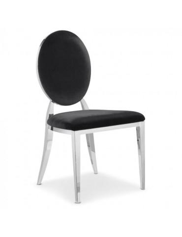 Lot de 4 chaises médaillon Sofia velours Noir ft83vlot4noir