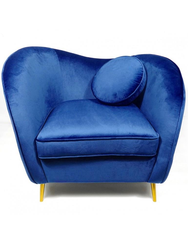 Fauteuil Altess Velours Bleu pieds Métal Or lsr20036bluevelvet78