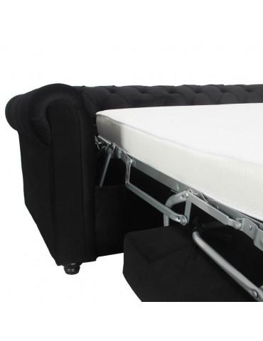 Canapé Chesterfield convertible express avec matelas Domingo Velours Noir lf3158bblackvelvet
