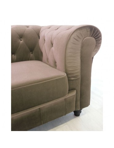 Fauteuil Chesterfield velours Taupe A605-V-1-Taupe