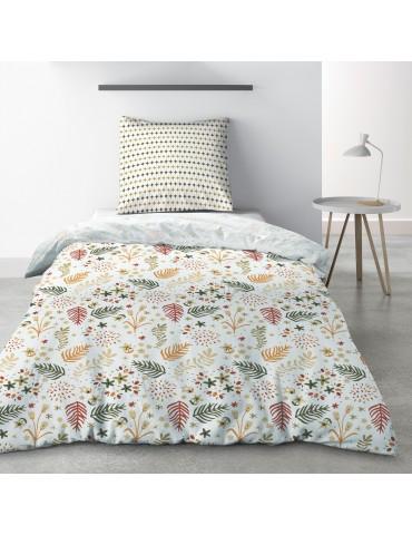 Parure de lit 1 personne Gardenia avec drap plat et taie d'oreiller Imprimé 180 x 290 4771000502Les Ateliers du Linge