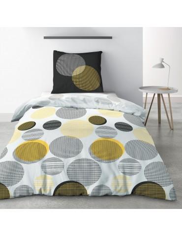 Parure de lit 1 personne Stitchy avec drap plat et taie d'oreiller Imprimé 180 x 290 4781000502Les Ateliers du Linge