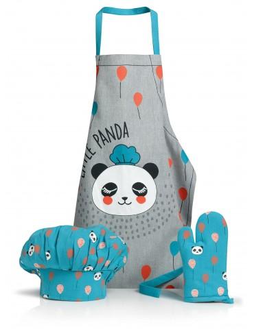 Lot Tablier Toque Gant de cuisine Panda Bleu clair/gris 52 x 63 3713060103Winkler