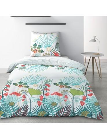 Parure de lit 1 personne Oika avec drap plat et taie d'oreiller Imprimé 180 x 290 3750000502Les Ateliers du Linge