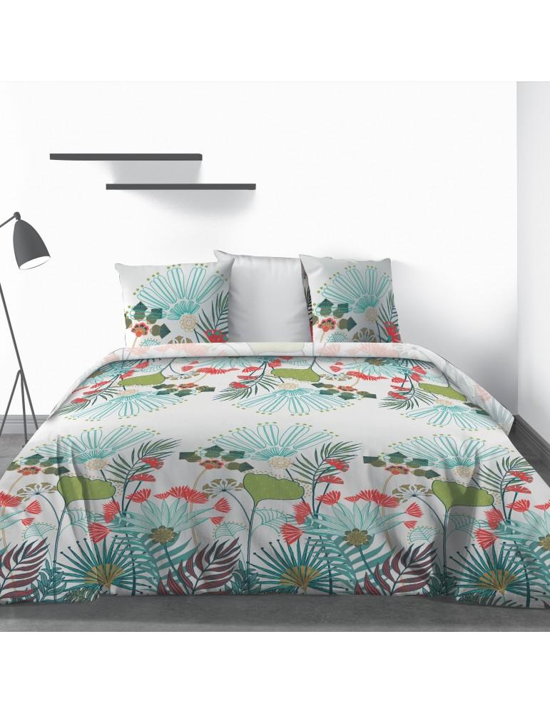 Parure de lit 2 personnes Oika avec drap plat et taies d'oreiller Imprimé 240 x 290 3751000503Les Ateliers du Linge