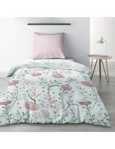 Parure de lit 1 personne Phytea Pink avec drap plat et taie d'oreiller Imprimé 180 x 290 3773000502Les Ateliers du Linge